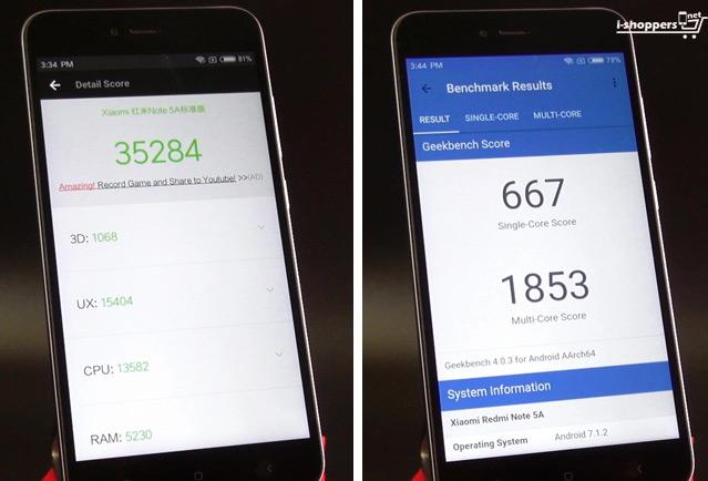 тест Antutu Redmi Note 5A (Redmi Y1 Lite)