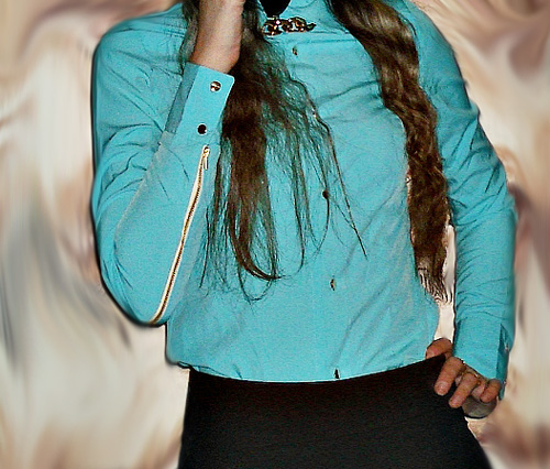 бирюзовая блуза-рубашка
