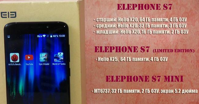 отличия версий Elephone S7