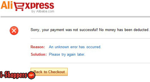 Sorry, your payment was not successful