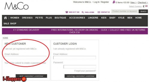 регистрация в M&Co (mandco.com)