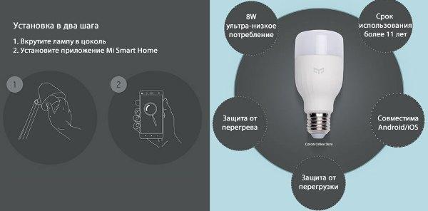XIAOMI YEELIGHT SMART LED BULB лампа