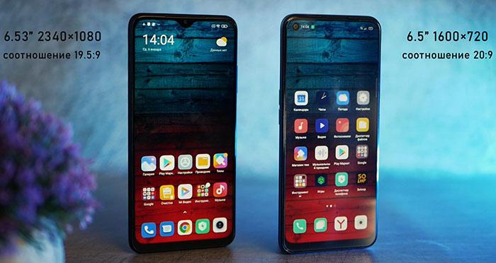 сравнение экранов OPPO A53 и Poco M3