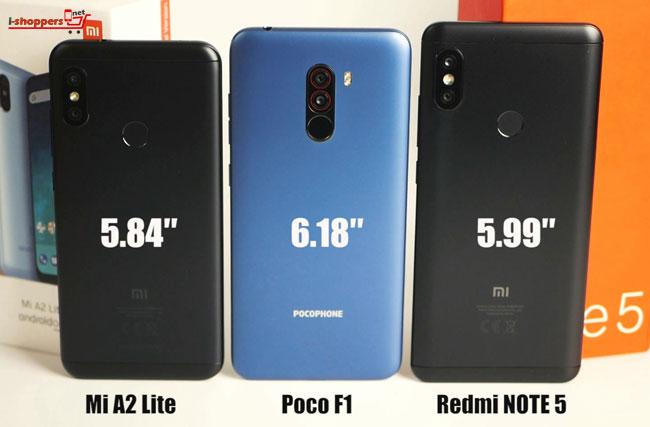 pocophone f1 рядом с Redmi Note 5 размеры