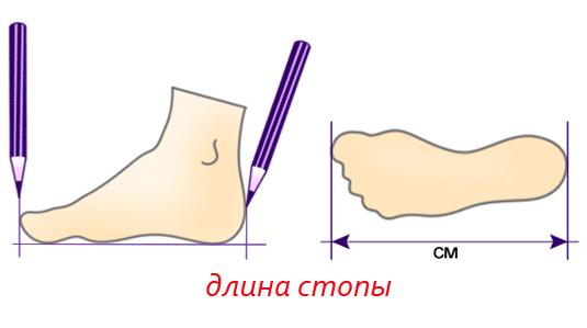 определяем длину стопы