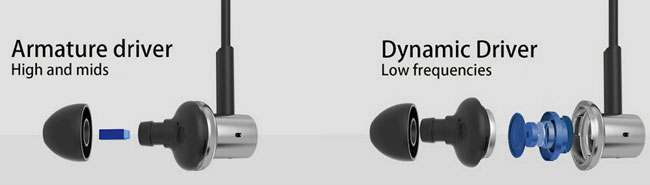 арматурный и динамический излучатели в наушниках