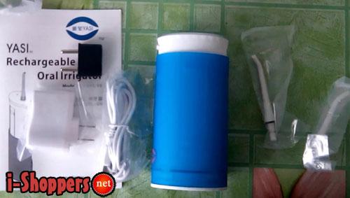 Содержимое упаковки: зарядное, кабель, ирригатор, насадки